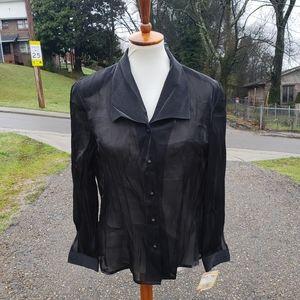 Vintage 90s Deadstock Black Sheer Button Up